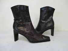 ANTONIO MELANI Brown Tooled Leather Zip Ankle Boots Womens Size 9 M