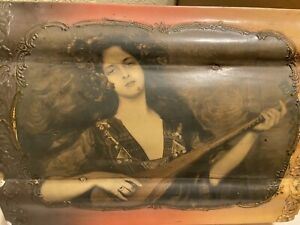 Victorian Antique PORTRAIT JEWELRY TRINKET BOX - Pretty Lady Lined Interior OLD!