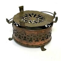 Primitive 19th Century Pierced Copper Footed Hand Warmer