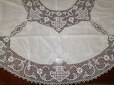 "New White Handmade CROCHET/Embroidered LACY Tablecloth Round 64"" w/ 8 Nanpkins"