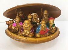 Plastic Clam Shell 7 Lucky Gods Diorama Miniature Scene Vintage Japan