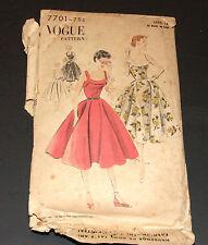Vintage 1950s Pattern Vogue 7701 Circular Dress Bare Top Complete Cut Size 14