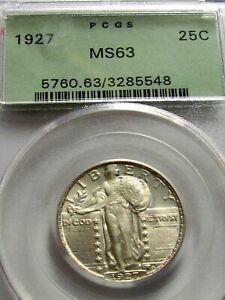 1927 P STANDING LIBERTY QUARTER,PCGS MS63 OGH