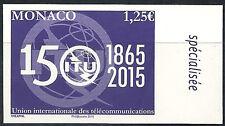 MONACO n° 2979, 150e anniversaire de l'UIT, NON DENTELE IMPERF, TB ** et RARE