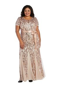 R&M Richards Women's Plus Size Short Sleeve Sequin-Embellished Pleated Gown