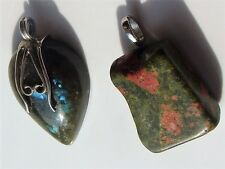Artisan Pendant Lot Teardrop Labradorite Green Red Granite Natural Stone