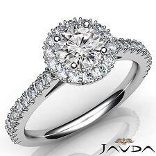 1.72ct Round Diamond French V Cut Halo Pave Engagement Ring GIA E VS1 Platinum