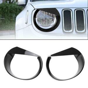 Fit For Jeep Renegade 16-18 Carbon fiber Texture Front Headlight Cover Trim Pair