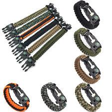 5in1 Outdoor Sports Emergency Rescue Bracelet Rope Buckle Scraper Whistle Flint