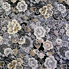 Embellished Floral, Metallic Silver, Gray, Ivory, Black, Taupe, A Kaufman Cotton