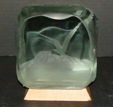 Large Signed Dated 76 RM Yates Bird Mountain Scene Art Glass Studio Etched Block