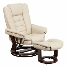 Recliner Chair With Ottoman Rocker Leather Swivel Wood Base Beige Contemporary