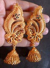 Gold Plated Meenakari Indian full ear Wedding Jhumka earrings Party Set a
