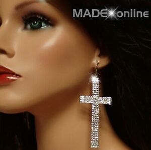 Very Large Cross Earrings, Sparkle Silver Statement Bling Crosses