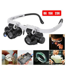 FT- BU_ LED Lamp Light Head-Mounted Jewelry Magnifier Magnifying Glass Lens Loup