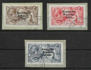 IRELAND SG86/8 1927-8 SEAHORSE SET USED ON SMALL PIECES