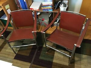 "Pair of Mid Century Le Corbusier Marked ""LC1"" Basculant Cassina Armchairs"