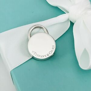 Tiffany & Co Sterling Silver Round Padlock Lock Charm Engravable