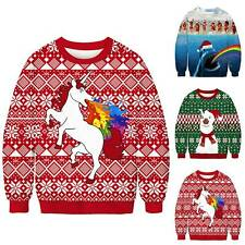 Christmas Womens Mens Sweater Sweatshirt Ugly Funny Tops Xmas Jumper Pullover AU