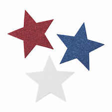 Jumbo Glitter Patriotic Stars - Craft Supplies - 24 Pieces