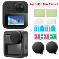 For GoPro Max Action Camera Lens Protective Cover & Tempered Glass Film 2 Sets