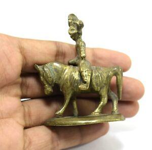 Vintage Warrior Horse Rider Miniature Brass Metal Table Decorative. G7-822