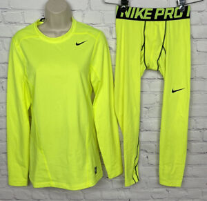 Nike Pro Combat Shirt S And Pants L Neon Yellow Set Fitted Hyperwarm Lite S L
