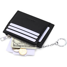 HISCOW Card Holder Wallet Genuine Leather with 1 Keychain & 8 Credit Card Slots