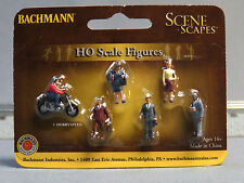 BACHMANN HO GAUGE CITY PEOPLE W MOTORCYCLE figures train people bike 33101 NEW