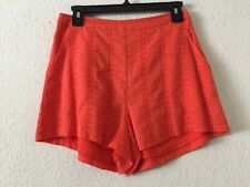 New Women's Lush Embroidered Cotton Shorts, Size M - Coral