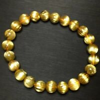 Natural Gold Rutilated Quartz Crystal Round Beads Wealthy Bracelet 8mm AAAAA
