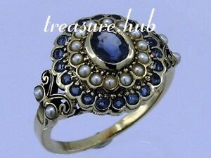 C797 Genuine 9ct Gold Natural Sapphire & Pearl Tiered Cluster Ring in your size