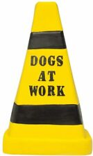 """Multipet Latex Dogs At Work Yellow Warning Parking Cone 7"""" Dog Toy With Squeaker"""
