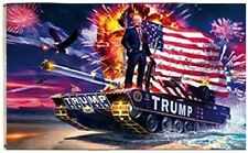 President DONALD TRUMP USA On Tank With Gun & Fireworks 3' x 5' Flag Banner