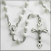 White Catholic Glass Beads Rosary, 6mm Beads, Great for Women or Girls