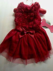 Pawpatu Dog Christmas Holiday Fancy Satin Ruffle Petti Rosettes Dress Red Sz L