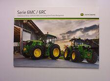 "Traktor-Prospekt "" JOHN DEERE Serie 6MC / 6RC "" aus dem Jahr 2013 / TOP"