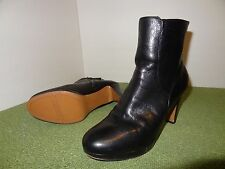 Nine West POOK Black Leather ankle high heel fashion boots womens size 9.5 M