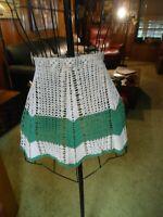 Crocheted Hostess Apron Green & White Waist Tie
