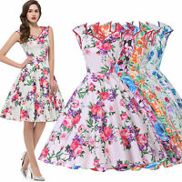 Vintage Retro Style 50s 60s Floral Causal Evening Party Dress Swing Flared Dress