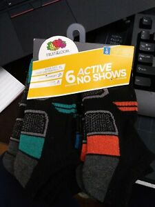 Fruit of The Loom Boys Active No Show Socks 6 Pair Size LARGE 3-9 NEW Black