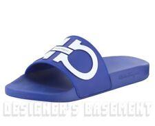 SALVATORE FERRAGAMO men's 7M blue GROOVE slides FLIP-FLOPS shoes NIB Authentic!
