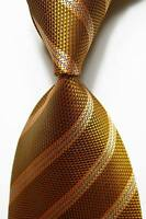 New Classic Striped Gold Black JACQUARD WOVEN 100% Silk Men's Tie Necktie