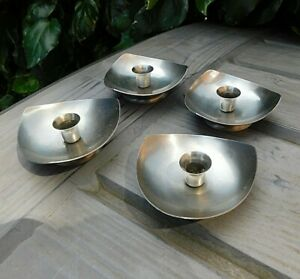 4 Vintage MODERNIST Stainless Steel Candle Holders EB Denmark Contemporary