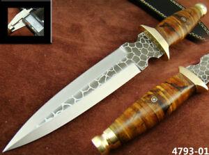 CUSTOM HANDMADE ACID ETCH STAINLESS STEEL HUNTING DAGGER KNIFE (4793-1