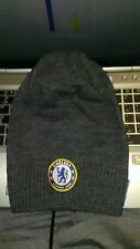 Strick/Sport/Wintermütze FC Chelsea Grau mit Stickereiemblem Fussball Fan