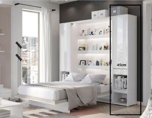 Schrank für Wandklappbett LENART 180x200,160x200,140x200 Vertikal Weiß Hochglanz