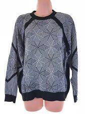 RIVER ISLAND black white monochrome geometric pattern slouch jumper size 10
