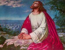 VTG JESUS MOUNT OLIVE OUR FATHER PRAYER HECHO EN MEXICO GLITTER PICTURE FOLK ART