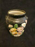 VINTAGE ORANGE RANSBURG POTTERY COOKIE JAR  HAND PAINTED FLOWERS..#oct18S